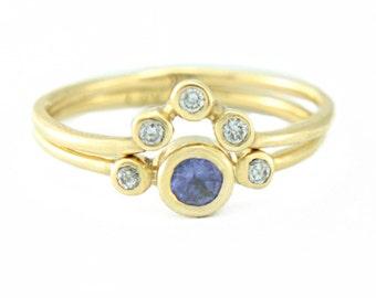 Tanzanite and Diamond Wedding Set 14k Yellow Gold Ring Tanzanite Diamond Gold Ring V Shape Diamond Wedding Band Tanzanite Ring