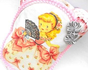 Cinderella Rose Pillow Princess Pink Dress Handmade Cottage Chic Girls Room Decor Floral Fairy Tale Illustration Pocket Satin Rosettes Gift