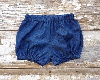 Denim Baby Bloomers Blue Baby Bubble Shorts Denim Diaper Cover Kids Summer Shorts Nappy Cover Summer Outfit Baby Shower Gift Blue Short Baby