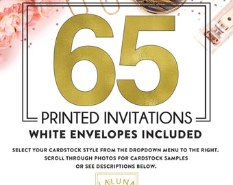 Set of 65 printed invitations / cards