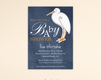 Baby Shower Invitation, denim, stork, blue, sprinkle, gender neutral, gender reveal, digital, printable, invite,  B1447