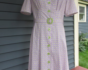 1940s Reproduction Cotton Dress - Purple and White 1930s 1940s Print, WWII Ready-Made