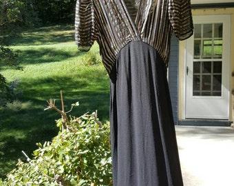 Vintage 1930s 1940s Dress - Black Rayon and Metallic Striped Dress