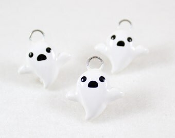 Cute Ghost Charm - Polymer Clay Charm - Halloween Charm - Ghost Jewelry - Halloween Jewelry - Kawaii Ghost - Cell Phone Charm
