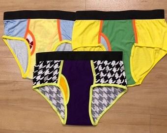 SET OF 3 - 100% Recycled T-Shirt Handmade Men's Brief Underwear PanTees: Light Yellow, Striped Blue & Black-White Patterns (Sz L)
