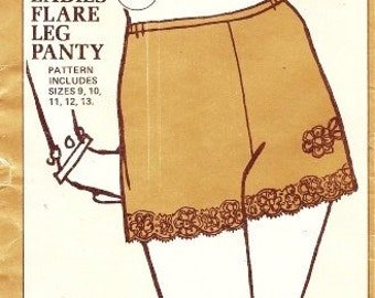 QUEEN SIZE Sew Lovely P504 1960s Misses Flare Leg Panty Pattern Ladies Womens Vintage Lingerie Sewing Pattern Size 9-13 UNCUT