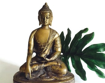 Vintage Buddha Statue Brass Burmese Statue Temple Alter Etched Tibetan Buddhist Decor Mid Century Sitting Lotus Buddha Doorstop Bookend