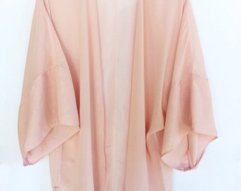 Swimsuit Cover up Women Blush Pink Chiffon Pastel Caftan Beach Sheer Kimono