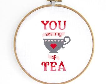 Cup of Tea Cross Stitch Pattern