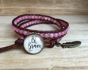 BE BRAVE Double Wrap Bracelet, Pink Bracelet