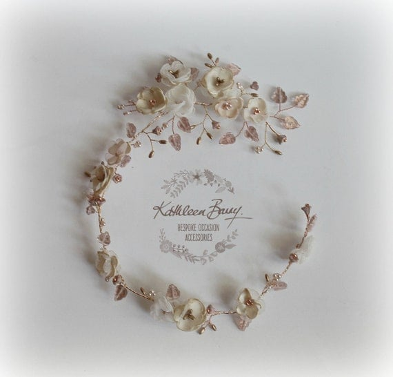 Rose Gold Bridal Wreath Wedding Hair Accessory Accessories