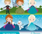 Frozen - The Snow Queen Clipart Set - Instant Download - PNG Files.