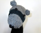 Hand Puppet Baby Raccoon Puppet Sock Puppet Knit Puppet Hand Knit for Adult or Child Birthday Gift Present Toy Pretend Play Raccoon Animal