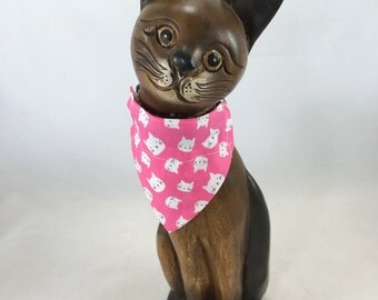 Reversible pink cat or kitten over the collar bandanna, bandanna for small pet, pet scarf