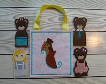 Goldilocks & 3 Bears Finger Puppet set