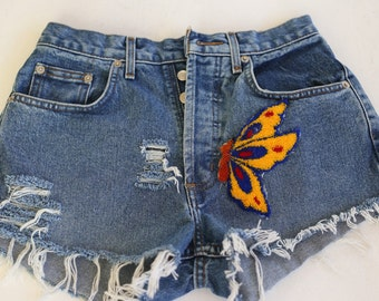 Vintage denim shorts Blue Denim Shorts Butterfly Patch S