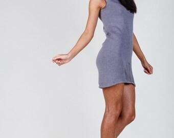 Grey Fine knit Ripped details mini Dress