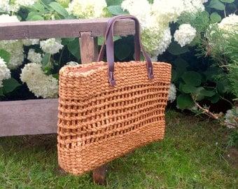Vintage Boho Woven Sisal Bag Woven straw bag with leather handles Lined Summer bag