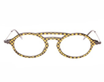 IDC handmade in France crazy cello metal black & yellow checkered sunglasses / eyeglasses frames, NOS 1980s
