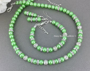 Lime Green Necklace, Lime Green Wedding, Bridesmaids Gift, Pearl Necklace, Bridal Party Jewelry, Lime Green Jewelry