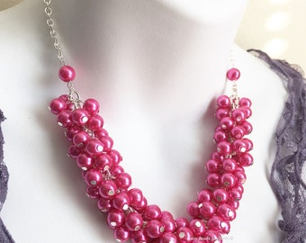 Bridesmaids Jewelry, Hot Pink Necklace, Pearl Cluster Necklace, Bridesmaid Gift, Hot Pink Necklace, Bridal Jewelry, Fuchsia Necklace