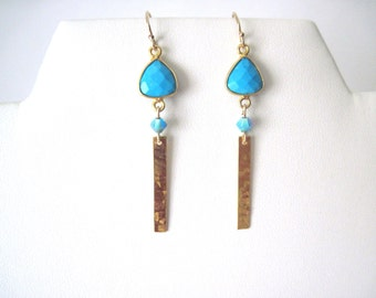 Turquoise earrings    Turquoise and gold earrings     Gold and turquoise  earrings