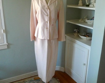 Women's Silk Suit, Mother of the Bride Dress , Pale Pink Suit, Jacket and Skirt Set, Pink Silk Dress, Pink Maxi Skirt, Long Sleeve Suit