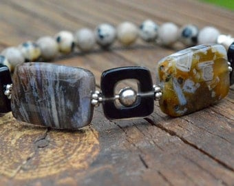 Speckled Agate and small Dalmatian and Grey Jasper beaded Bracelet