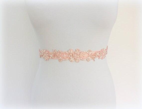 Light pink embroidered lace belt. Floral lace belt. Beaded belt. Wedding belt. Lace belt. Elastic waist belt. Bridal belt. Dress belt.
