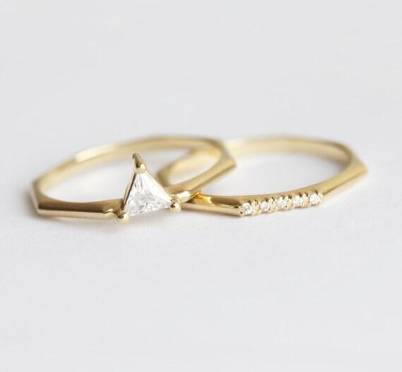 modern wedding ring set trillion diamond ring set modern engagement ring set yellow - Modern Wedding Rings