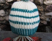 Hand Knitted Wool Beanie, Warm and Soft Beanie With Pompom, Blue and White Knit Wool Ski Hat