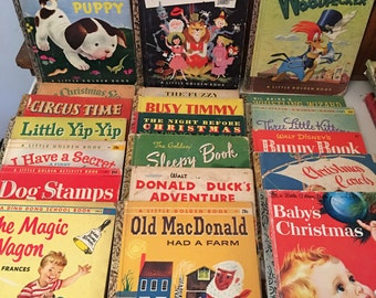 """Vintage A Little Golden Book Collection with The Poky Little Puppy """"A"""" Book, 20 Books, Some Rare"""