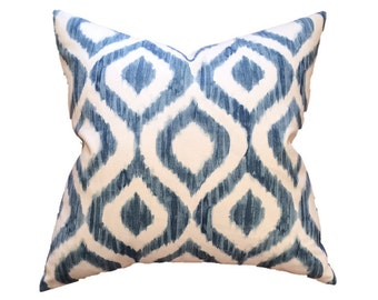 "Denim Blue and White Watercolor Ikat Trellis Designer Pillow Cover- Lattice Pillow- Accent Pillow- Throw Pillow- Holds 22"" Insert"