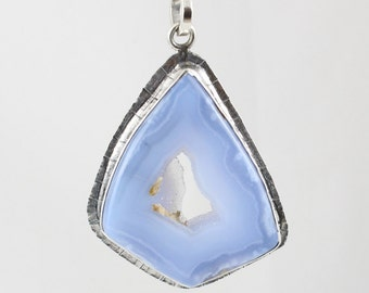 Handmade Sterling Silver Scored Framed Chalcedony with Druzy Pendant