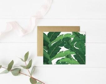 Palm Print Card // Size A2 // Tropical Leaves Print // Banana Leaves Print Card // Blank Inside