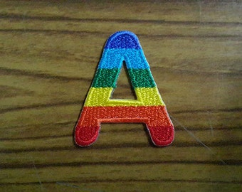 Rainbow Alphabet Letter A Applique Embroidered Iron on Patch