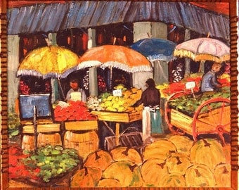 Exquisite ca.1935 City Street Farmers Market Oil Painting on Canvas w/Frame