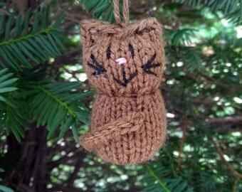 Brown Kitten Ornament, Handmade Knit, Hanging Decoration, Christmas Tree Trim, Rustic Decor, All Year Decoration