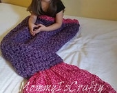 Mermaid tail blanket snuggly and headband / Made to order/ You choose colors/ Mermaid tail/ Blanket