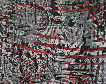 Original one of a kind monoprint, black, red, green, 9 X 12, Monoprint 4