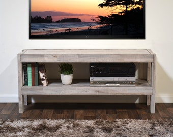 Rustic Gray Reclaimed Wood TV Stand - Beach House Entertainment Media Console - presEARTH Driftwood