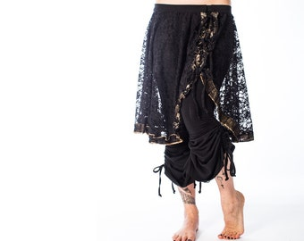 Women's Belly Dance Black Lace Mina Skirt Tribal Fusion Gothic Steampunk Ballet Handmade Trim Convertible Overskirt Festival Knee Length