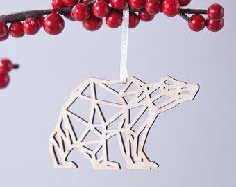 Geometric Bear Christmas Decoration - Polar Bear - Christmas Tree - Hanging Decoration - Stocking Filler - Table Present - Modern Ornaments