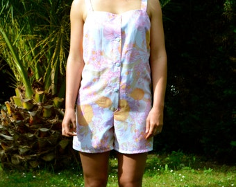 Tropical Playsuit Vintage Fabric pink floral print size 10/38