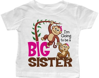 """I'm Going to be a Big Sister """"Lil Monkeys"""" T-shirt"""