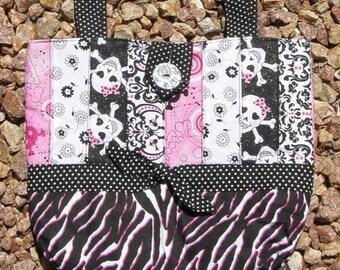Pink Skulls and Zebra Patchwork Purse