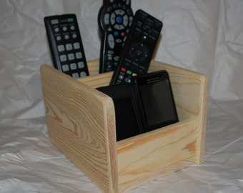 Wooden Remote Control Caddy Phone Charging Station