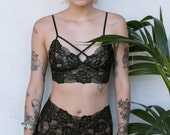 Dreamy Black Lace Bralette and High Waisted Knickers Lingerie set  // Wedding Lingerie -Made To Order-