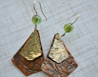 Mixed metal Copper and silver nickel dangling earrings, hammered metal earrings, green rustic earrings, artisan earrings