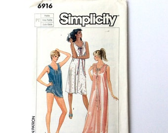 Simplicity 6916, Women's Nightgown Pattern, Baby Doll Pajamas Pattern, Size Petite 6 - 8, Uncut Vintage Pattern